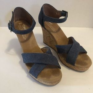 Toms Espadrilles Blue Denim Wedges